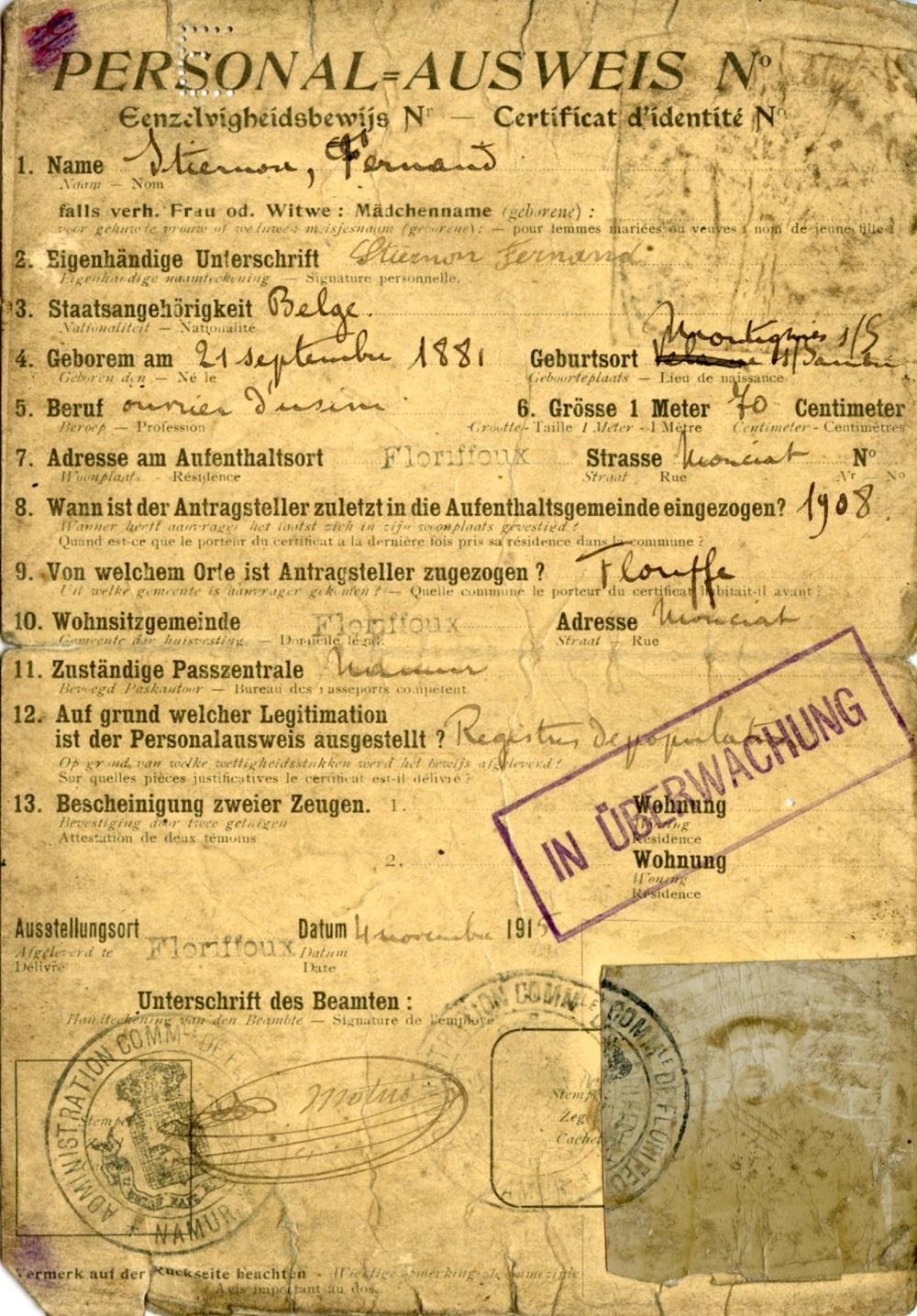 Floriffoux – Ausweis – Fernand STIERNON
