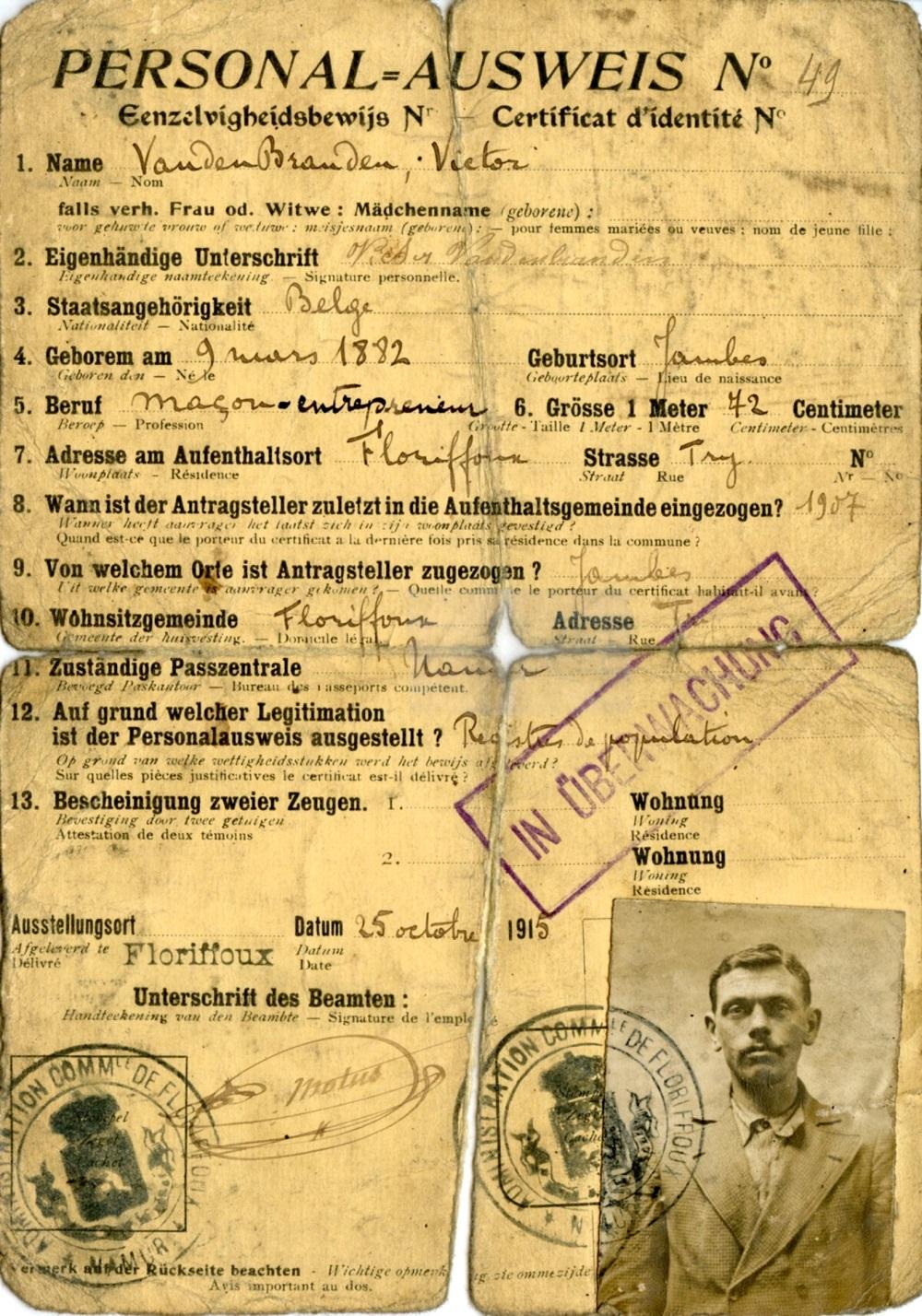 Floriffoux – Ausweis – Victor VANDENBRANDEN