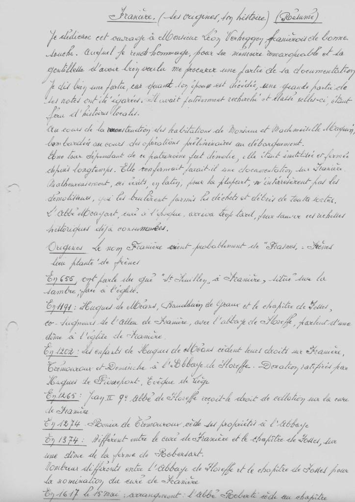 Franière – monographie – Henri LESSIRE – vers 1980