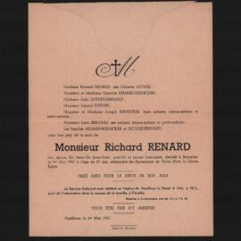 Floriffoux – souvenirs mortuaires – les patronymes RENARD