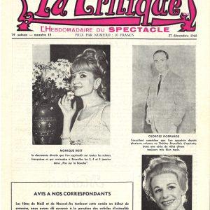 """Nous le découvrons sur la première page de l'hebdomadaire du spectacle """"la Critique"""" du 27-12-1968, désigné excellent comédien au Théâtre bruxellois d'opérette, alias les Folies Bergères."""