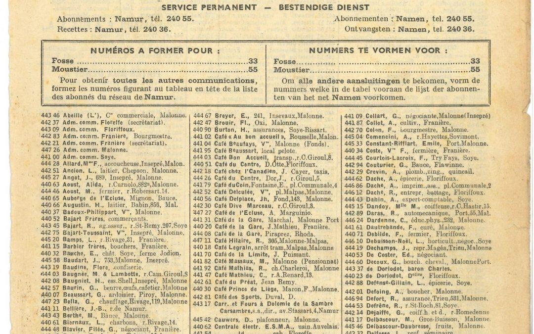Floreffe – annuaire téléphonique – 1952