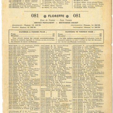 Annuaire téléphonique de Floreffe de 1952