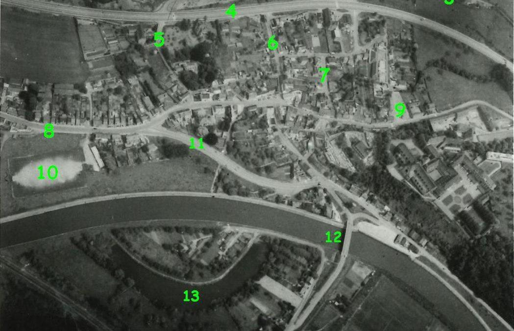 Floreffe – Avenue Charles de Gaulle – rues Emile Romedenne et Joseph Hanse – la Sambre – abbaye – vue aérienne