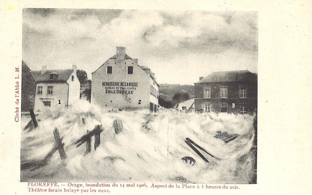 Floreffe – place Roi Baudouin – inondations du 14 mai 1906