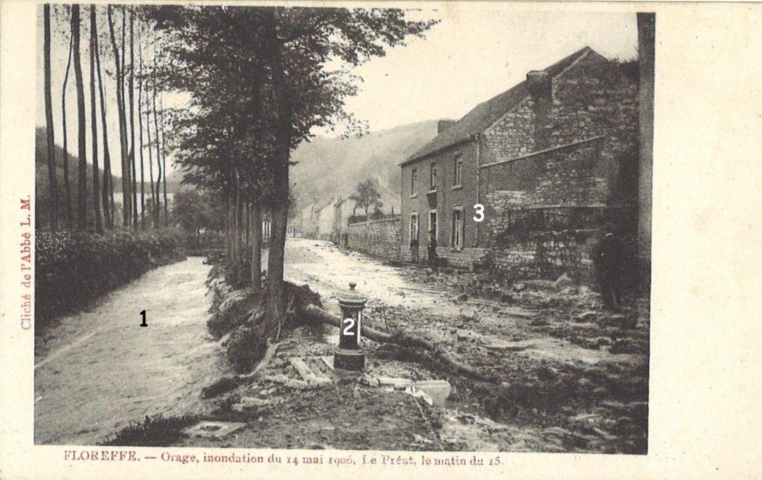 Floreffe – Avenue Charles de Gaulle – le Préat – inondations du 14 mai 1906