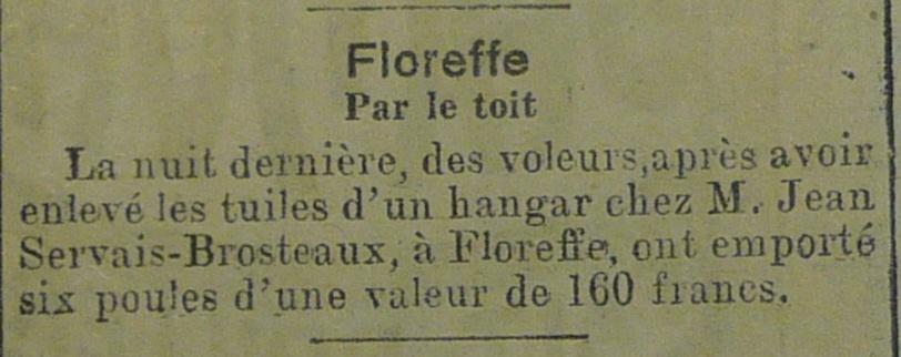 Floreffe – faits divers de l'année 1921