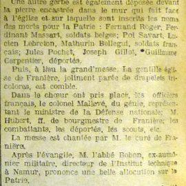 Franière – manifestation patriotique – 1920