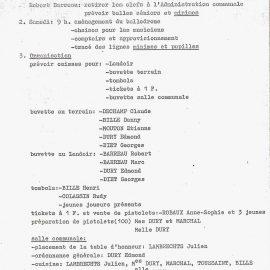 Floreffe – balle pelote – organisation de la journée des champions – 1982