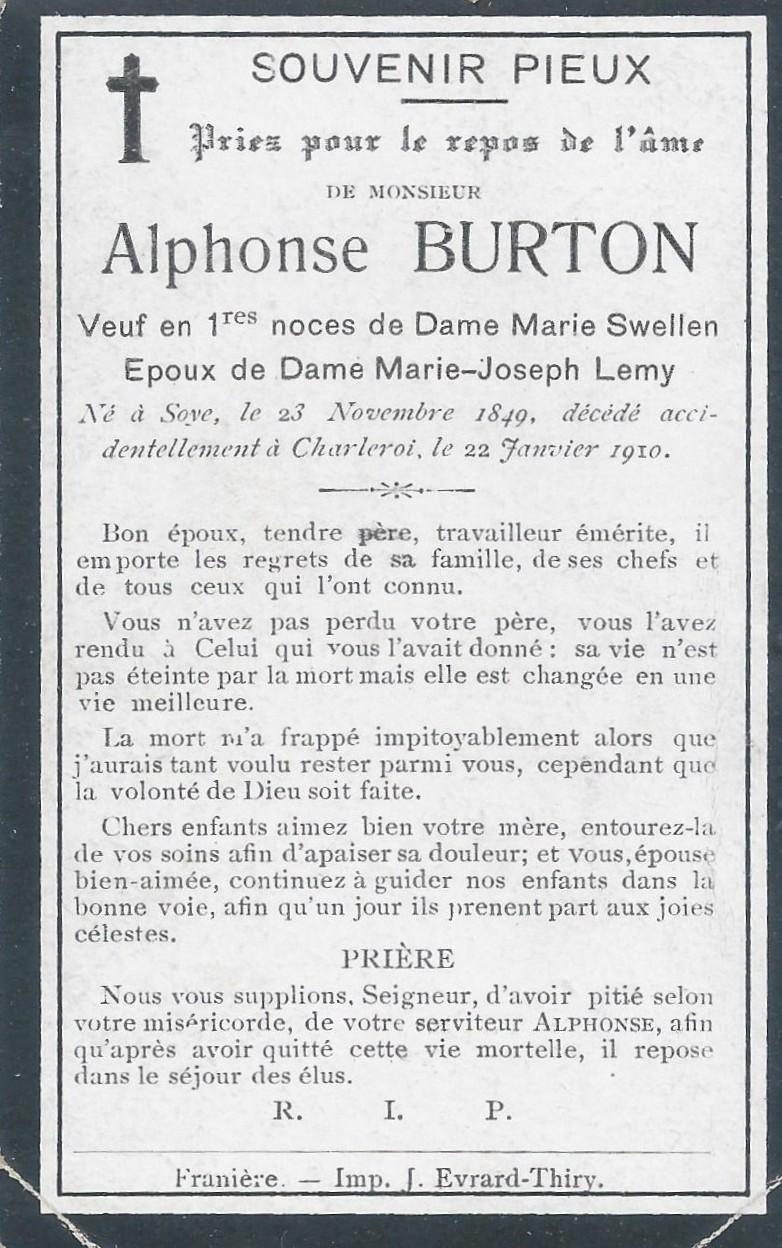 Soye – souvenirs mortuaires – les patronymes BURTON