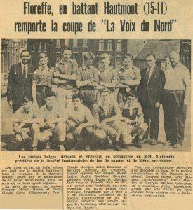 Copy of Floreffe – balle pelote – équipe junior à Hautmont – années 60