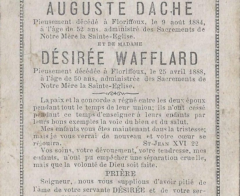 Floriffoux – souvenirs mortuaires – les patronymes DACHE