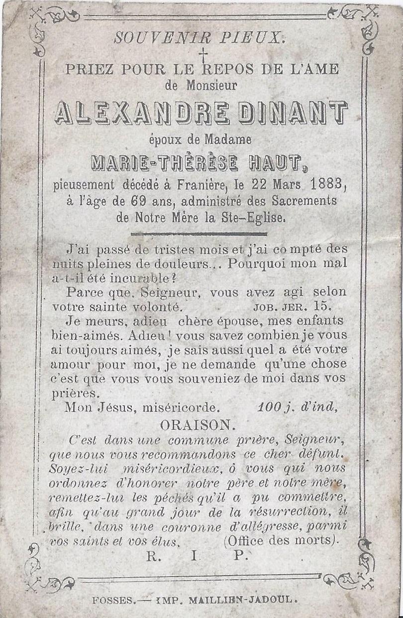 Franière – souvenirs mortuaires – les patronymes DINANT