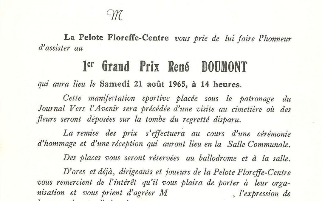 Floreffe – balle pelote – programme du 1er GP René Doumont – 1965