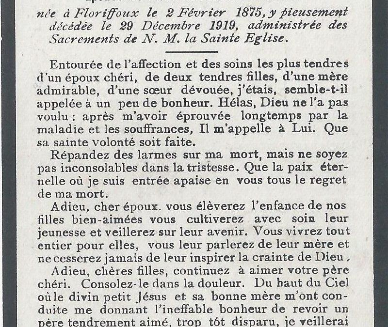 Floriffoux – souvenirs mortuaires – les patronymes GANHY