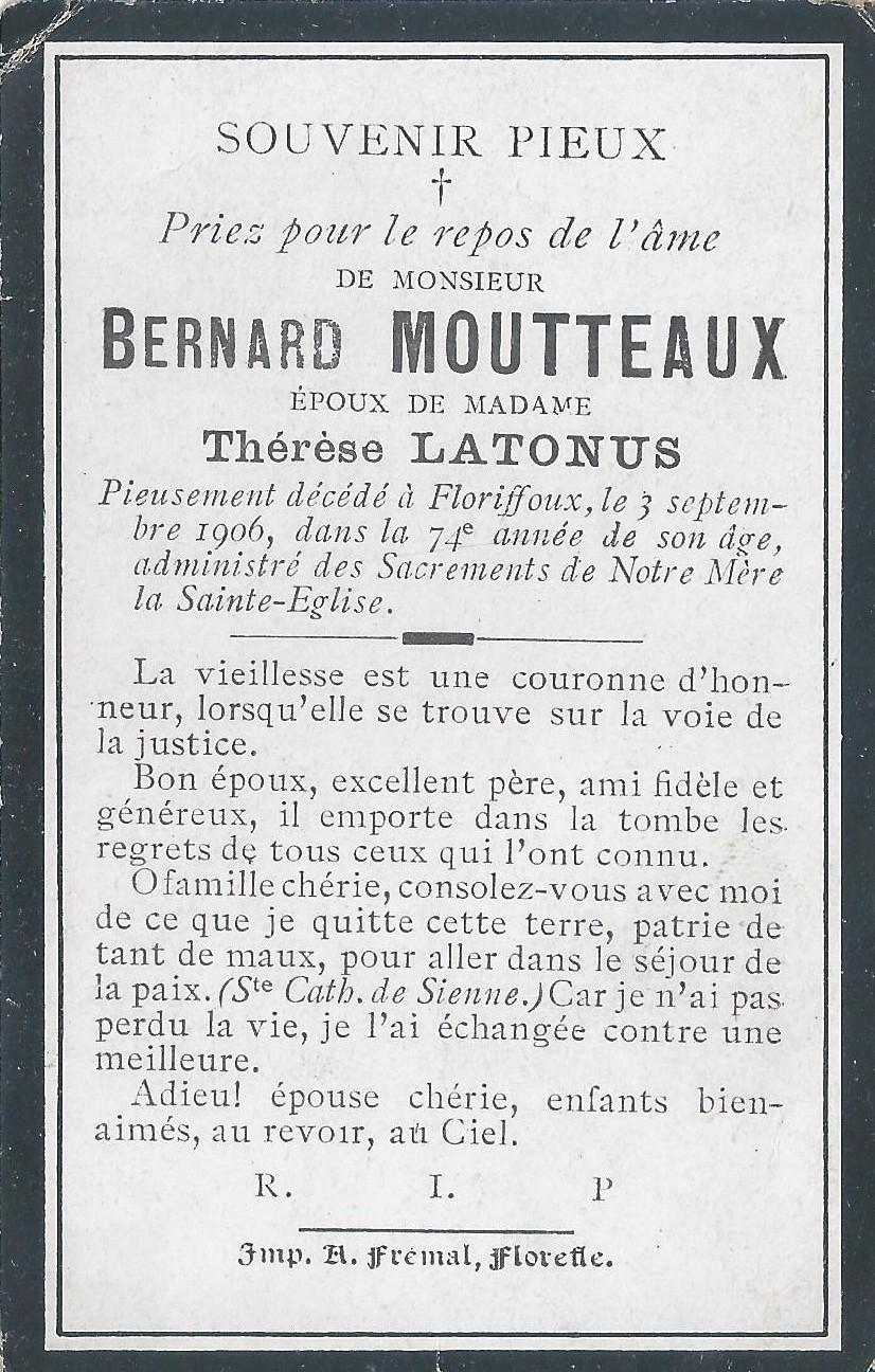 Floriffoux – souvenirs mortuaires – les patronymes MOUTTEAUX
