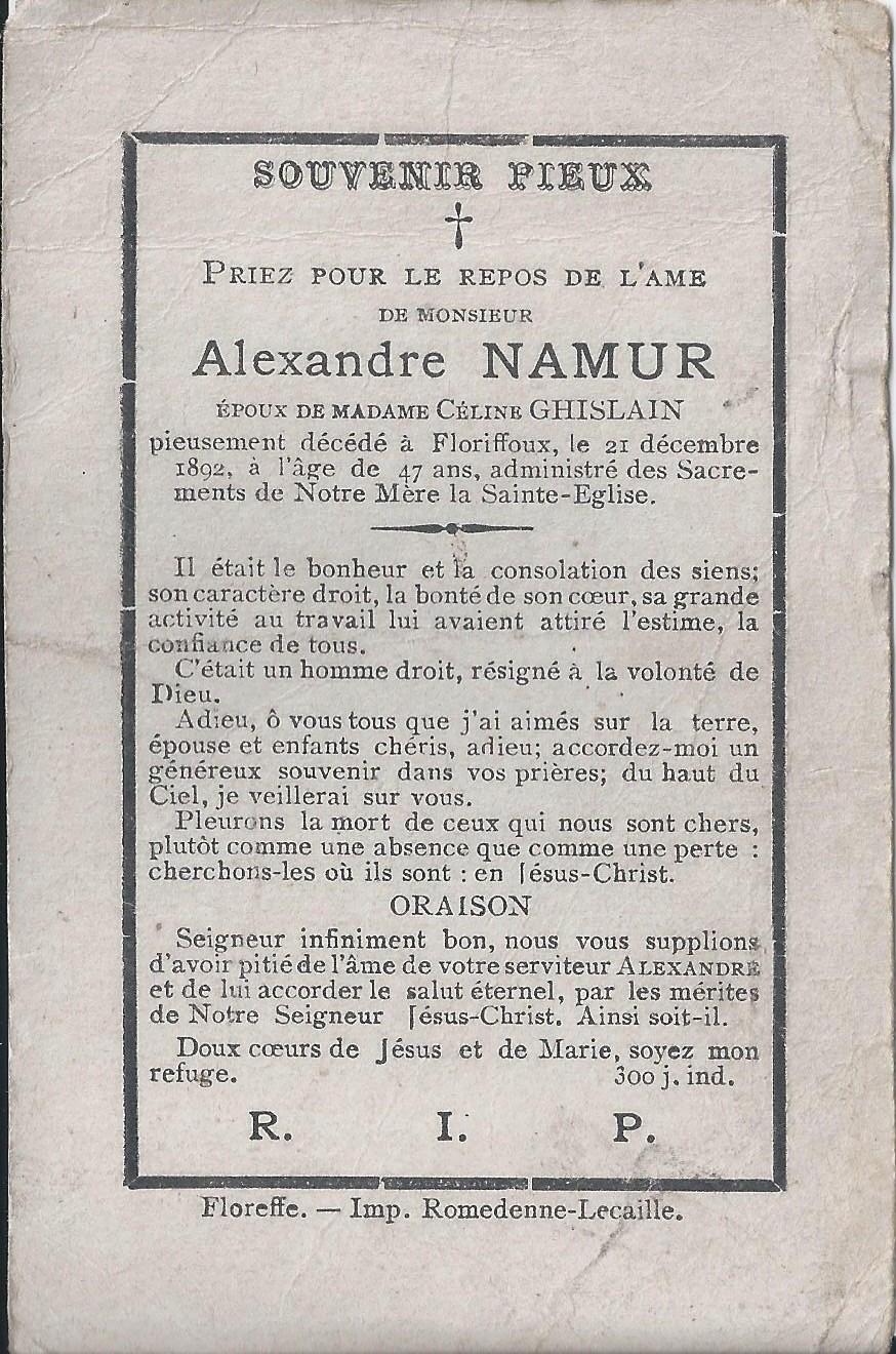 Floriffoux – souvenirs mortuaires – les patronymes NAMUR