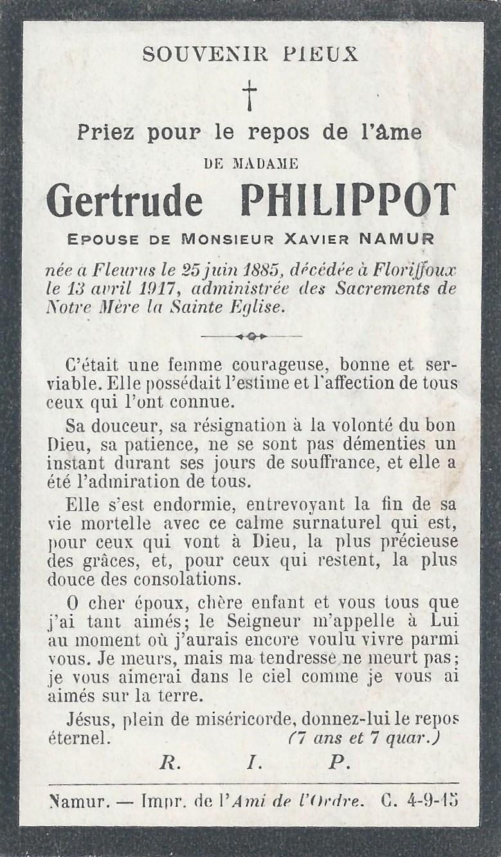Floriffoux – souvenirs mortuaires – les patronymes PHILIPPOT