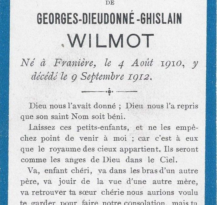 Franière  – souvenirs mortuaires – les patronymes WILMOT