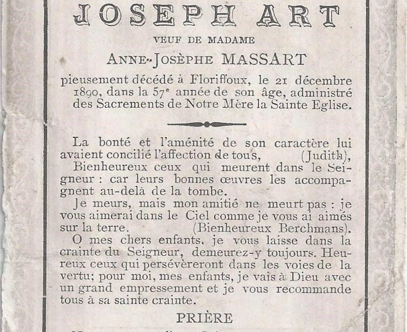 Floriffoux – souvenirs mortuaires – les patronymes ART
