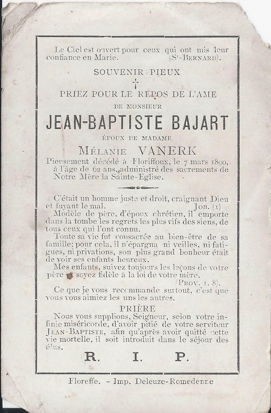 Floriffoux – souvenirs mortuaires – les patronymes BAJART