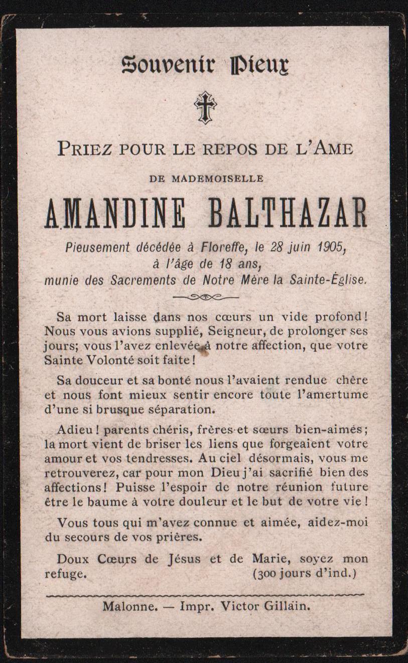Floreffe – souvenirs mortuaires – les patronymes BALTHAZAR