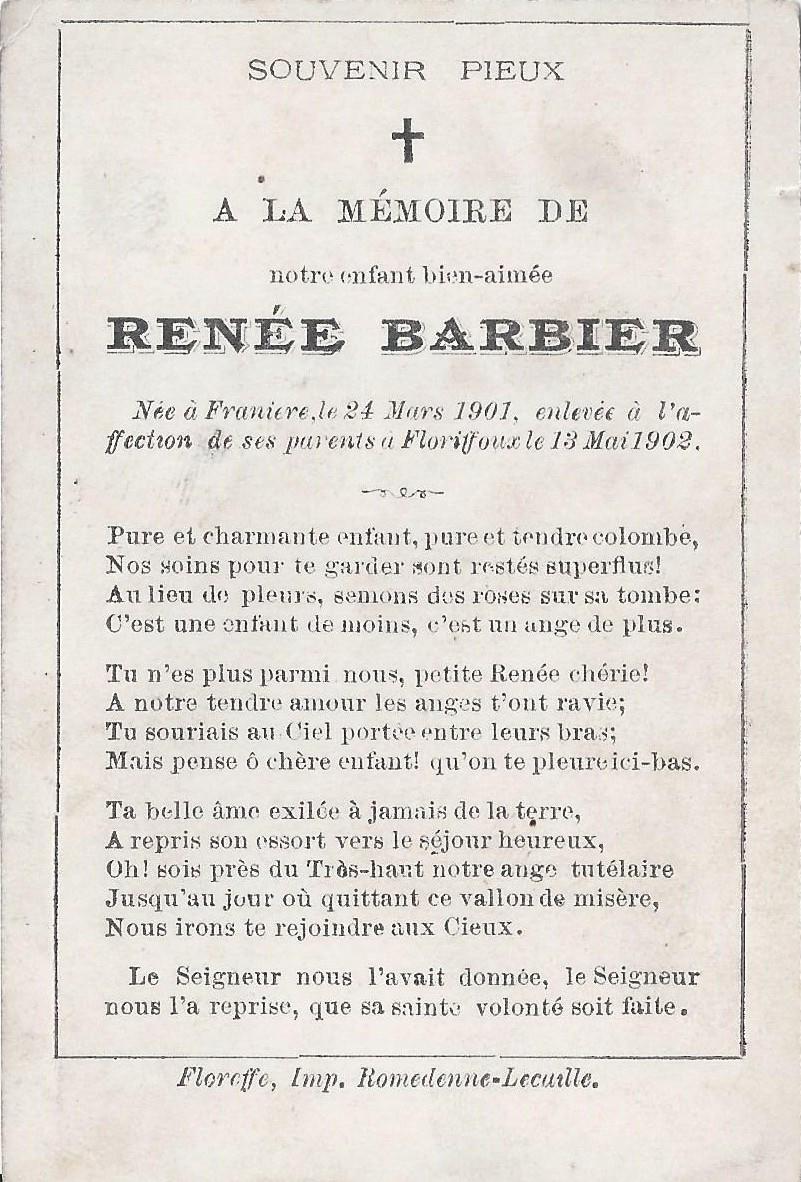 Floriffoux – souvenirs mortuaires – les patronymes BARBIER