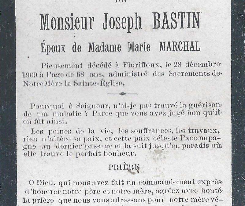 Floriffoux – souvenirs mortuaires – les patronymes BASTIN