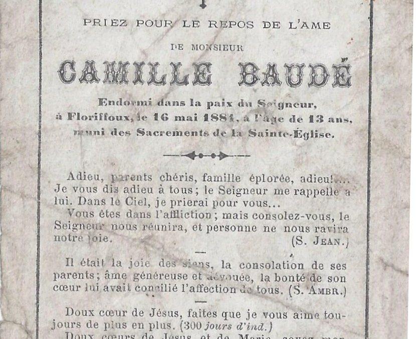 Floriffoux – souvenirs mortuaires – les patronymes BAUDE