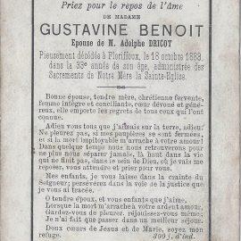 Floriffoux – souvenirs mortuaires – les patronymes BENOIT