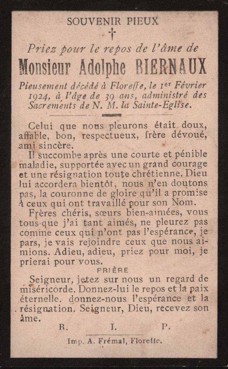 Floreffe  – souvenirs mortuaires – les patronymes BIERNAUX
