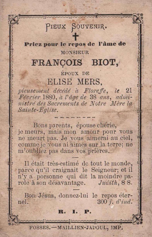 Floreffe – souvenirs mortuaires – les patronymes BIOT