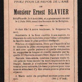 Floreffe – souvenirs mortuaires – les patronymes BLAVIER