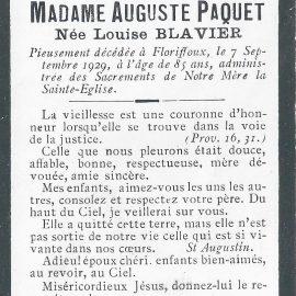 Floriffoux – souvenirs mortuaires – les patronymes BLAVIER