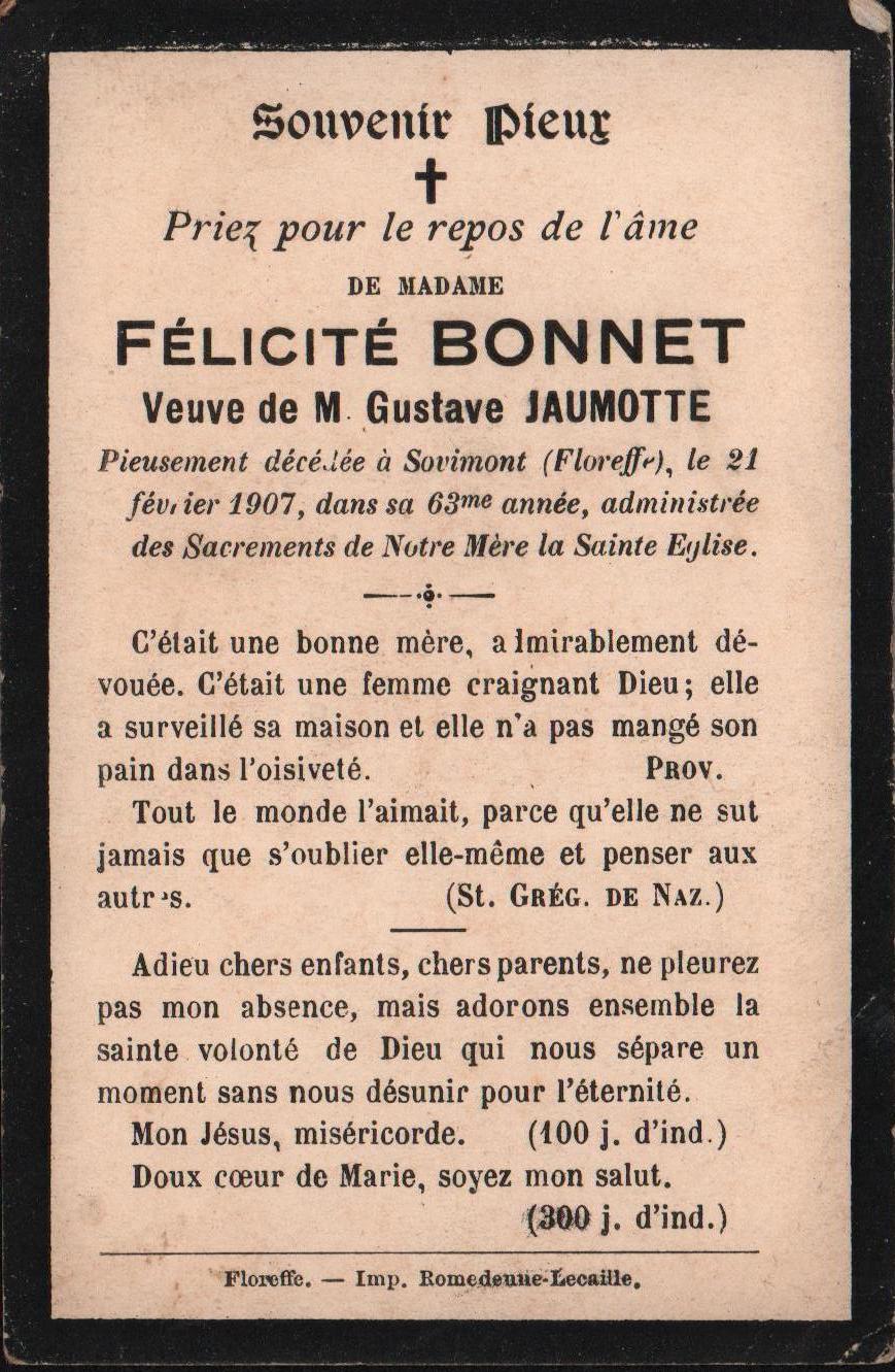Floreffe – souvenirs mortuaires – les patronymes BONNET