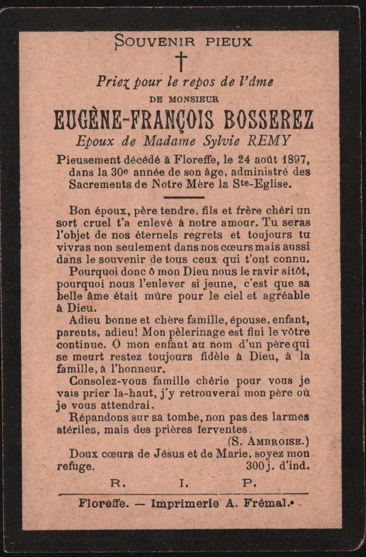 Floreffe – souvenirs mortuaires – les patronymes BOSSEREZ