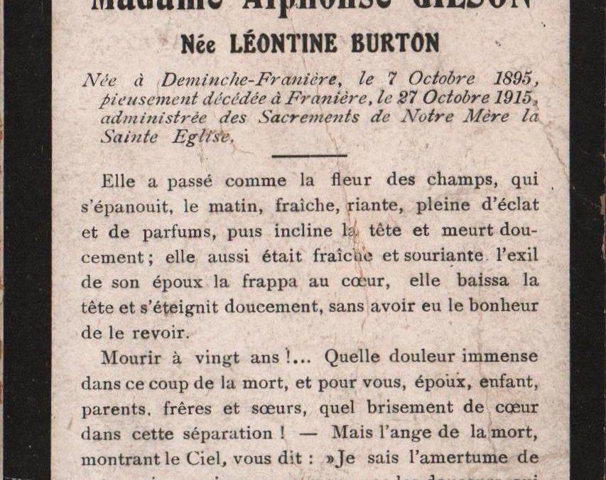 Franière – souvenirs mortuaires – les patronymes BURTON