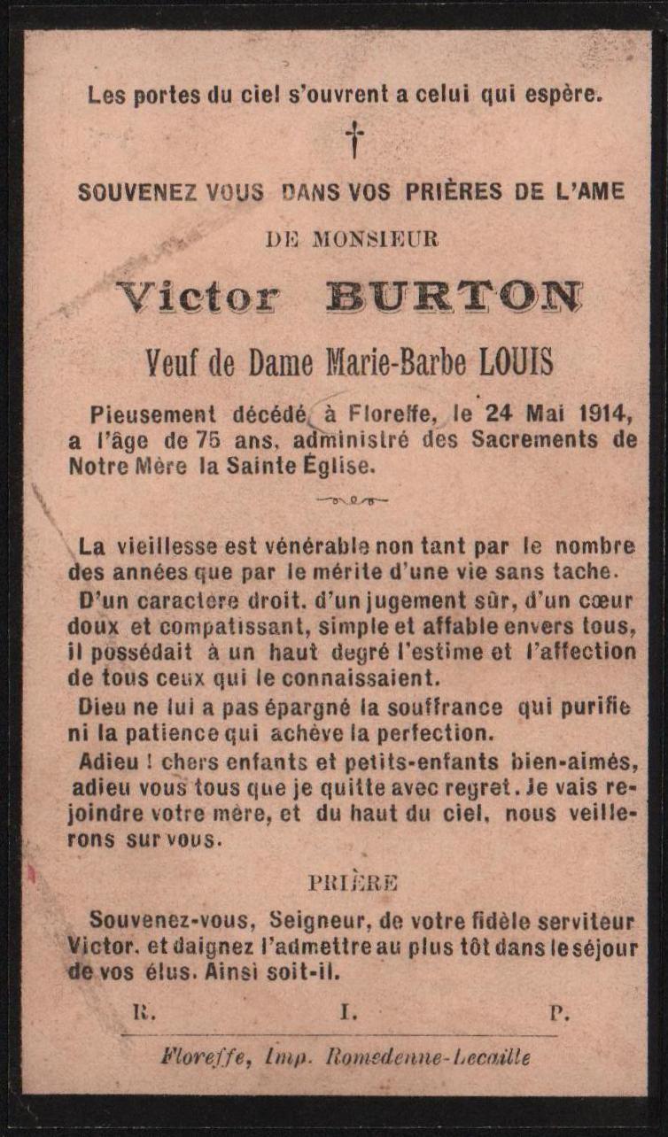 Floreffe – souvenirs mortuaires – les patronymes BURTON