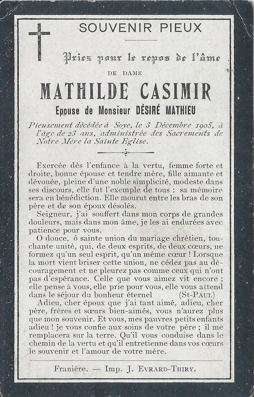 Soye – souvenirs mortuaires – les patronymes CASIMIR