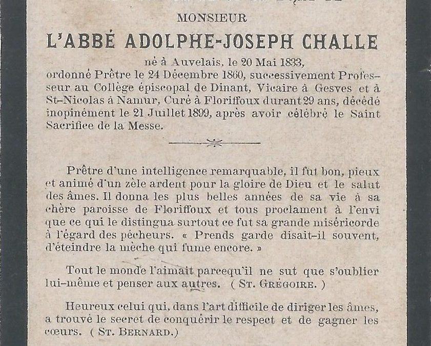 Floriffoux – souvenirs mortuaires – les patronymes CHALLE