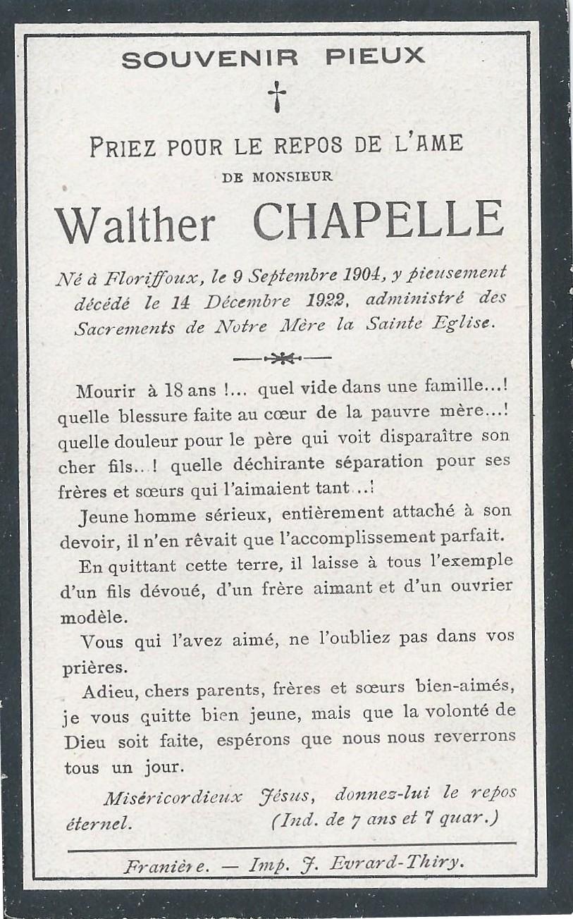 Floriffoux – souvenirs mortuaires – les patronymes CHAPELLE