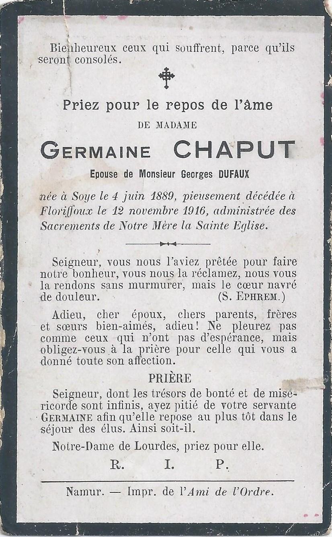 Floriffoux – souvenirs mortuaires – les patronymes CHAPUT