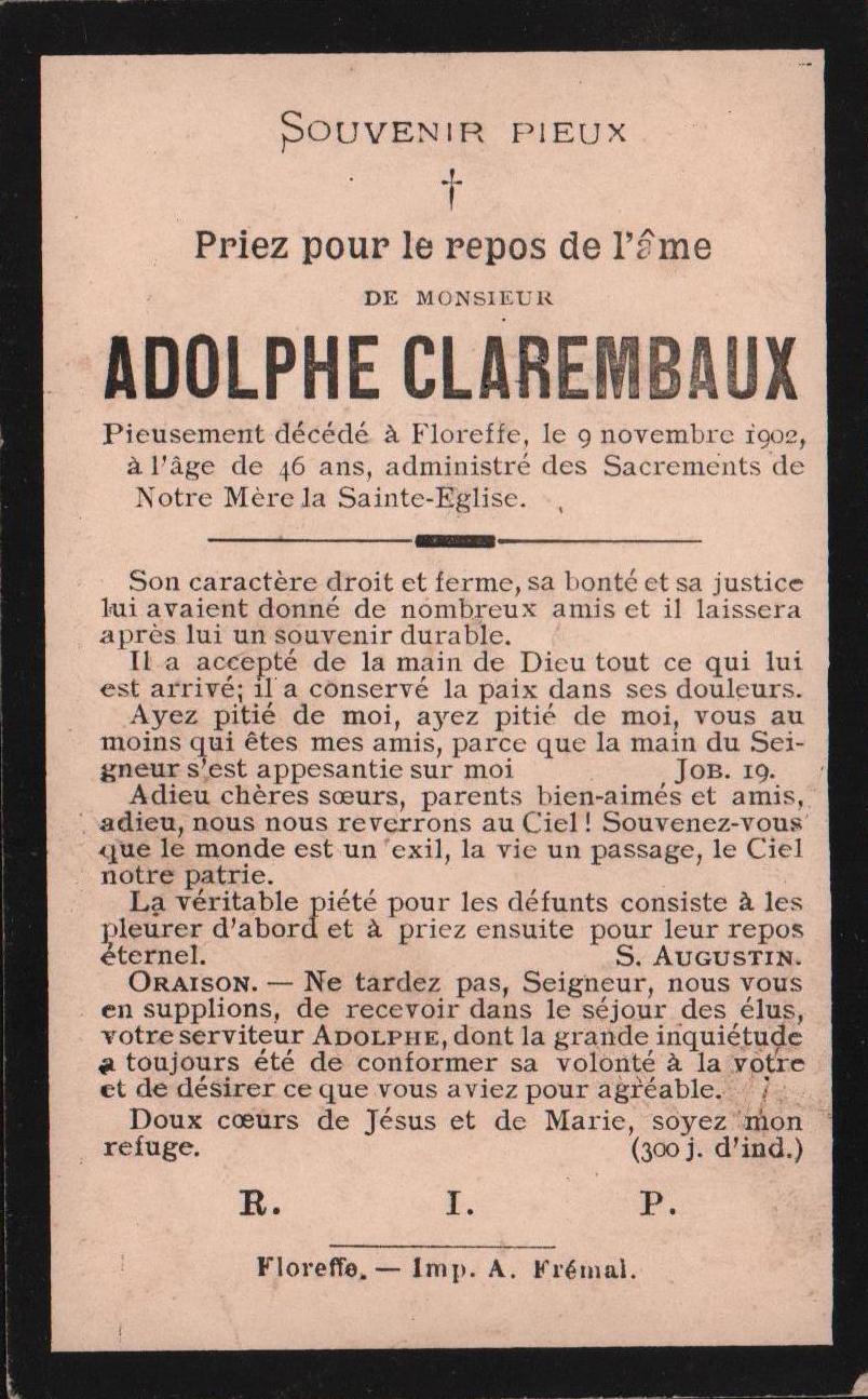 Floreffe – souvenirs mortuaires – les patronymes CLAREMBAUX