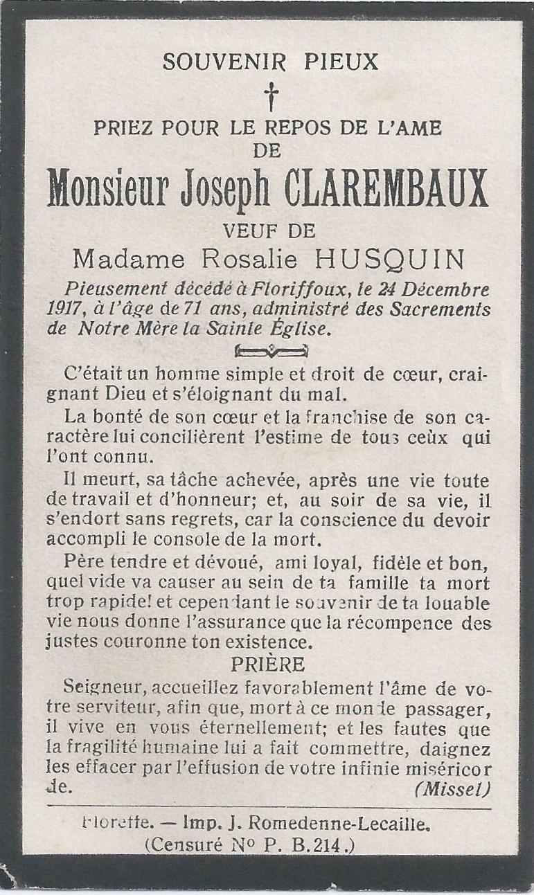 Floriffoux – souvenirs mortuaires – les patronymes CLAREMBAUX