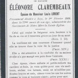 Soye – souvenirs mortuaires – les patronymes CLAREMBEAUX