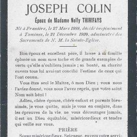 Franière – souvenirs mortuaires – les patronymes COLIN