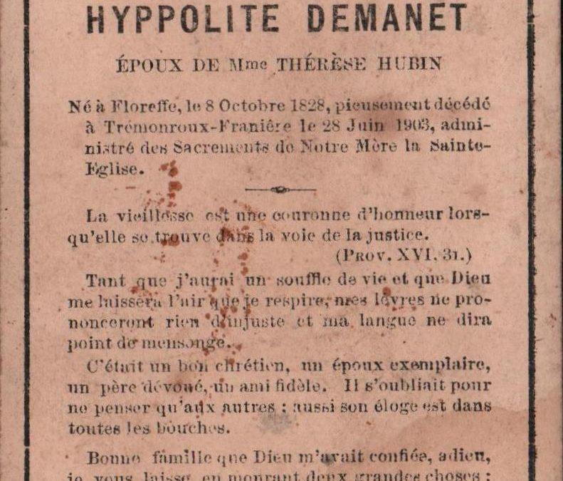Franière – souvenirs mortuaires – les patronymes DEMANET