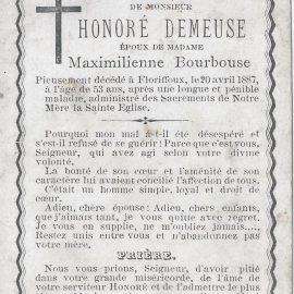 Floriffoux – souvenirs mortuaires – les patronymes DEMEUSE