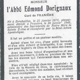 Franière – souvenirs mortuaires – les patronymes DORIGNAUX
