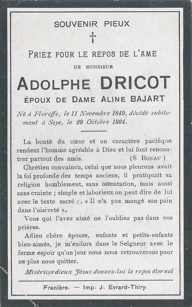 Floreffe – souvenirs mortuaires – les patronymes DRICOT